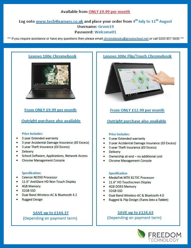 Chromebooks - Grove School and Sixth Form